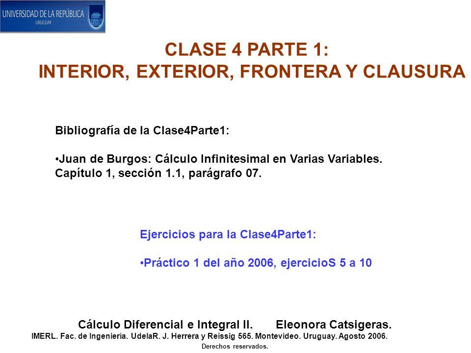 Bibliografía de la Clase4Parte1: Juan de Burgos: Cálculo Infinitesimal en Varias Variables. Capítulo 1, sección 1.1, parágrafo 07. CLASE 4 PARTE 1: IN