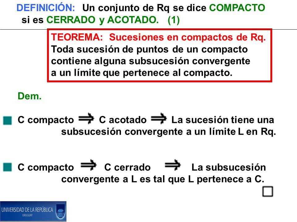 DEFINICIÓN: Un conjunto de Rq se dice COMPACTO si es CERRADO y ACOTADO. (1) TEOREMA: Sucesiones en compactos de Rq. Toda sucesión de puntos de un comp