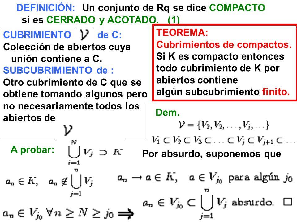 CUBRIMIENTO de C: Colección de abiertos cuya unión contiene a C. SUBCUBRIMIENTO de : Otro cubrimiento de C que se obtiene tomando algunos pero no nece
