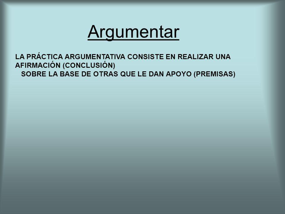 Argumentar LA PRÁCTICA ARGUMENTATIVA CONSISTE EN REALIZAR UNA AFIRMACIÓN (CONCLUSIÓN) SOBRE LA BASE DE OTRAS QUE LE DAN APOYO (PREMISAS)
