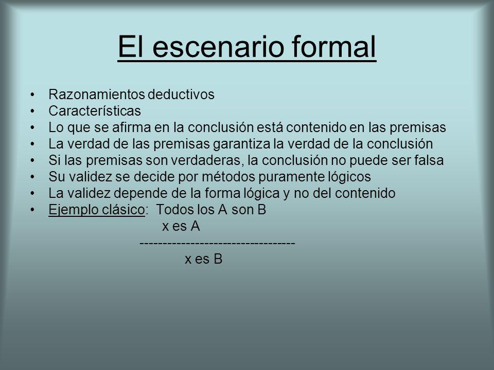 El escenario formal Razonamientos deductivos Características Lo que se afirma en la conclusión está contenido en las premisas La verdad de las premisa