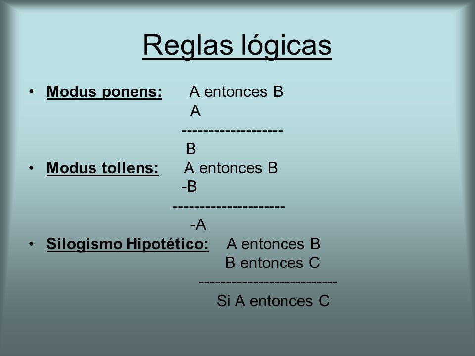 Reglas lógicas Modus ponens: A entonces B A ------------------- B Modus tollens: A entonces B -B --------------------- -A Silogismo Hipotético: A entonces B B entonces C -------------------------- Si A entonces C