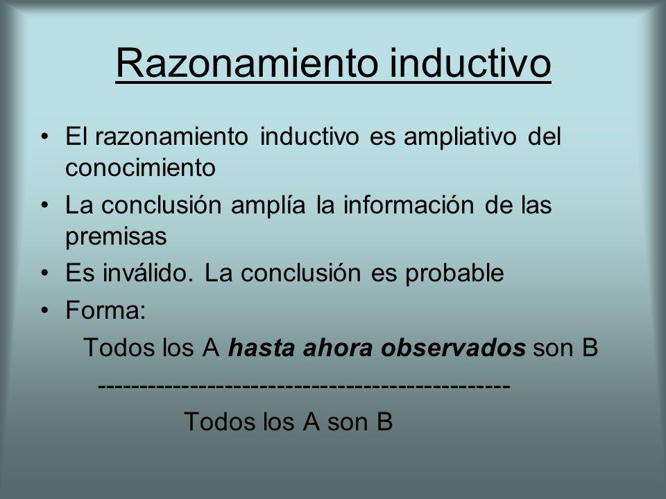 Razonamiento inductivo El razonamiento inductivo es ampliativo del conocimiento La conclusión amplía la información de las premisas Es inválido. La co