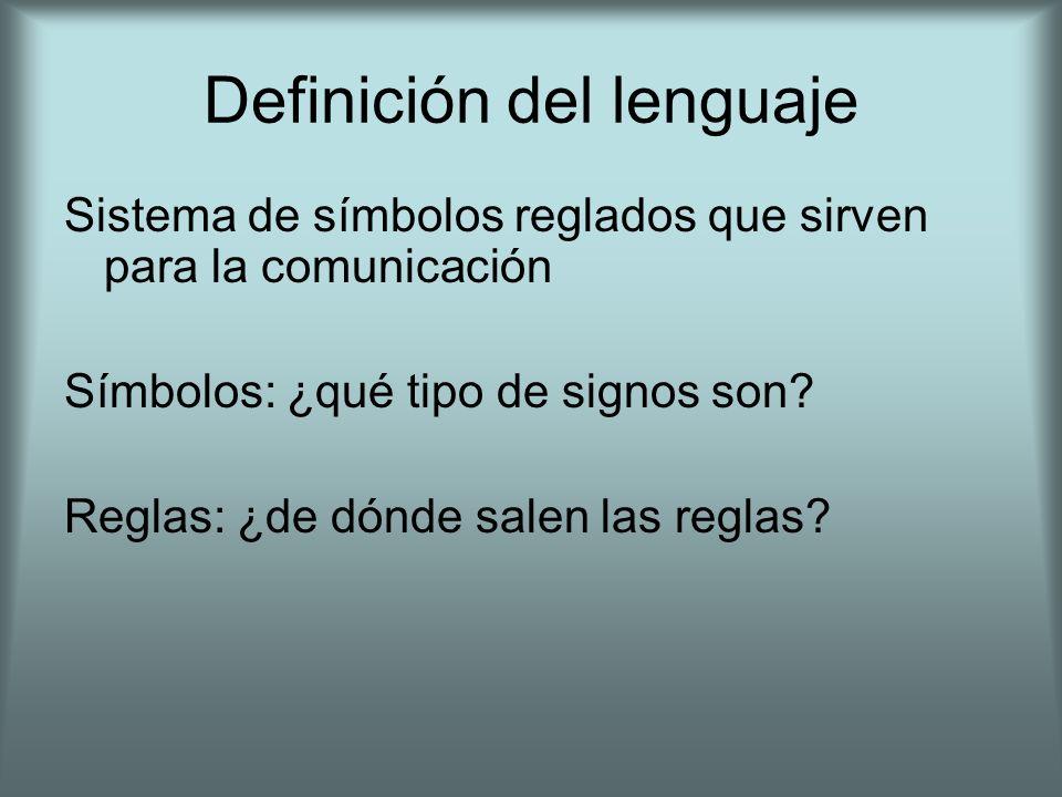 Definición del lenguaje Sistema de símbolos reglados que sirven para la comunicación Símbolos: ¿qué tipo de signos son? Reglas: ¿de dónde salen las re