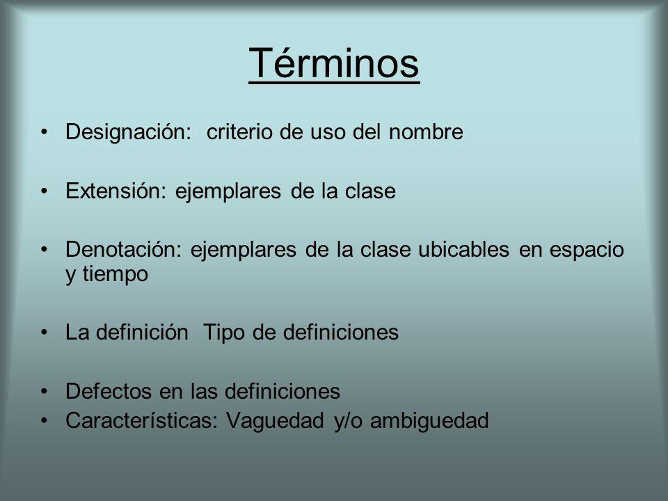 Términos Designación: criterio de uso del nombre Extensión: ejemplares de la clase Denotación: ejemplares de la clase ubicables en espacio y tiempo La