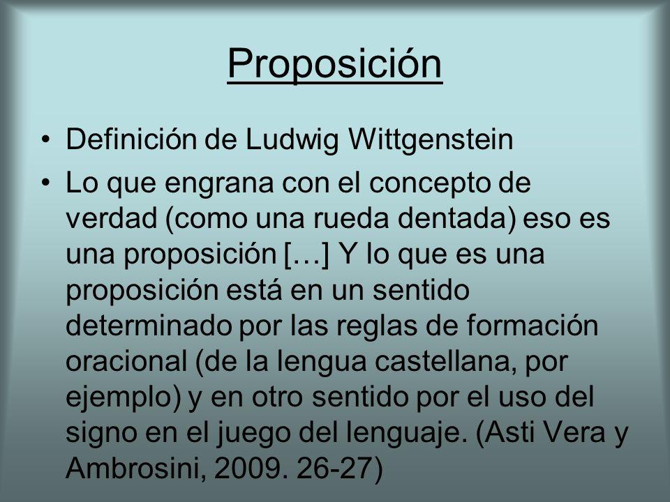 Proposición Definición de Ludwig Wittgenstein Lo que engrana con el concepto de verdad (como una rueda dentada) eso es una proposición […] Y lo que es