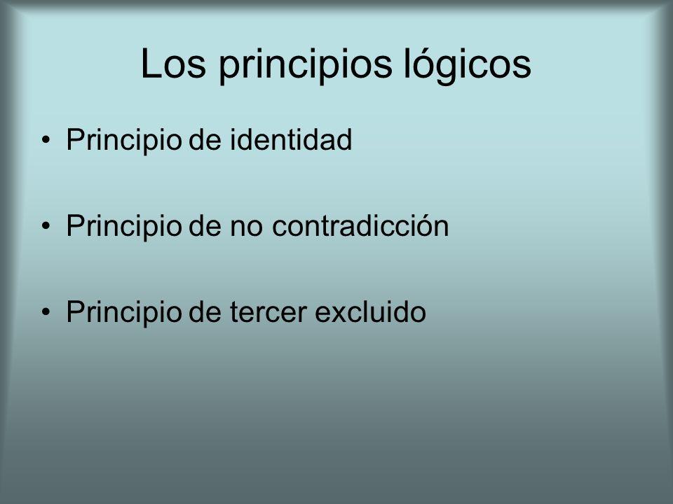 Los principios lógicos Principio de identidad Principio de no contradicción Principio de tercer excluido