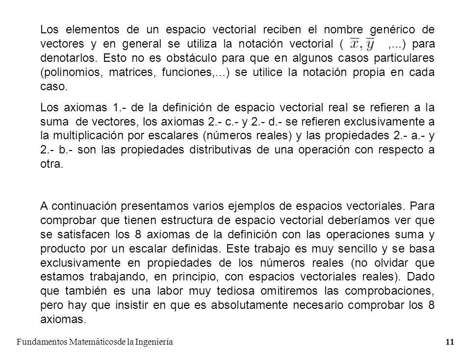Fundamentos Matemáticosde la Ingeniería11 Los elementos de un espacio vectorial reciben el nombre genérico de vectores y en general se utiliza la notación vectorial (,...) para denotarlos.