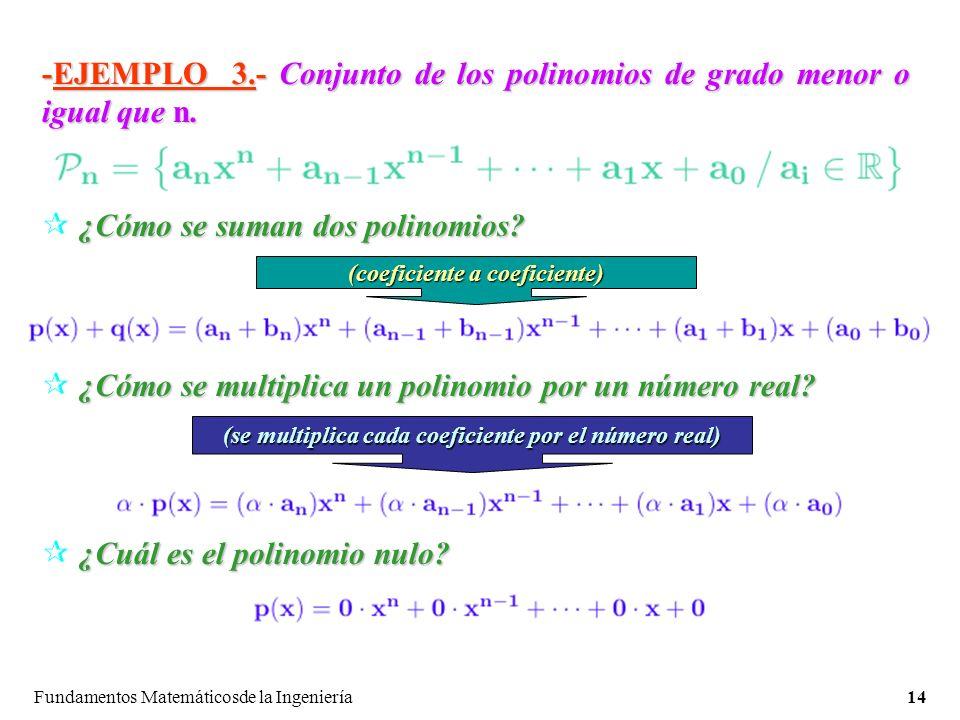 Fundamentos Matemáticosde la Ingeniería14 -EJEMPLO 3.-Conjunto de los polinomios de grado menor o igual que n.