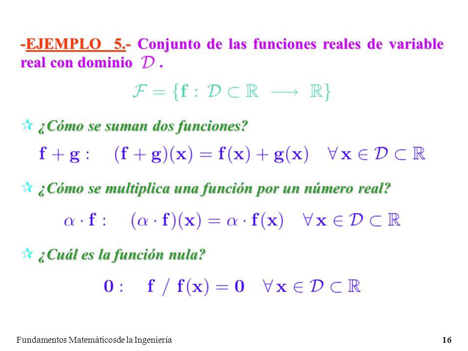 Fundamentos Matemáticosde la Ingeniería16 -EJEMPLO 5.- Conjunto de las funciones reales de variable real con dominio -EJEMPLO 5.- Conjunto de las funciones reales de variable real con dominio.