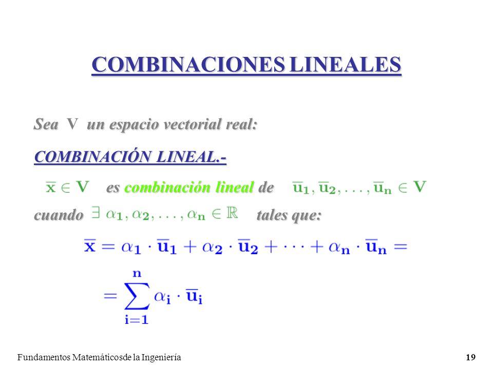 Fundamentos Matemáticosde la Ingeniería19 COMBINACIONES LINEALES Sea un espacio vectorial real: Sea V un espacio vectorial real: COMBINACIÓN LINEAL.- es combinación lineal de cuando tales que: