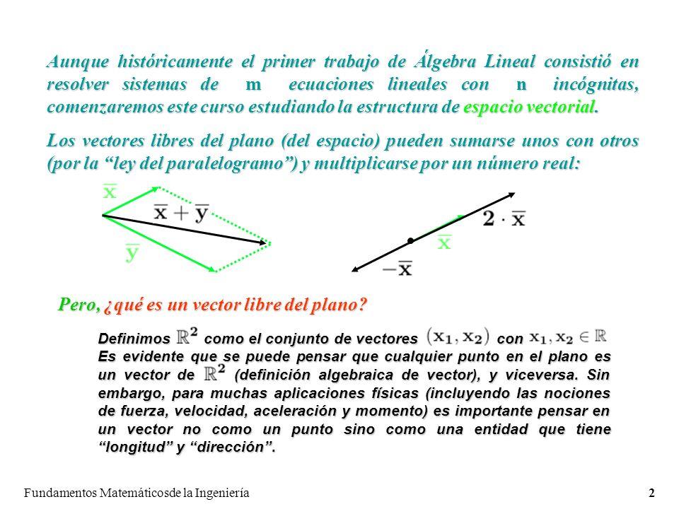 Fundamentos Matemáticosde la Ingeniería2 Aunque históricamente el primer trabajo de Álgebra Lineal consistió en resolver sistemas de m ecuaciones lineales con n incógnitas, comenzaremos este curso estudiando la estructura de espacio vectorial.