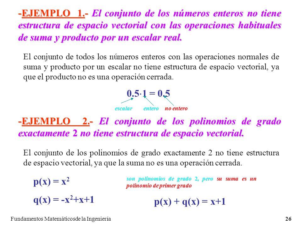 Fundamentos Matemáticosde la Ingeniería26 -EJEMPLO 1.-El conjunto de los números enteros no tiene estructura de espacio vectorial con las operaciones habituales de suma y producto por un escalar real.