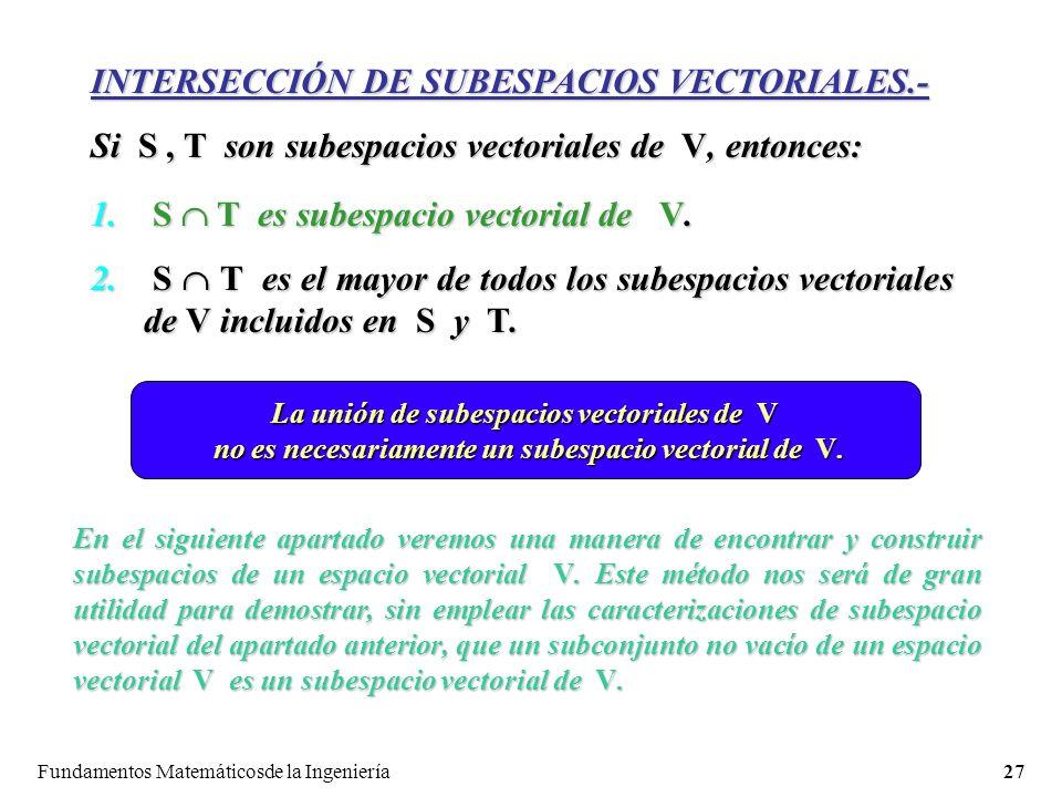 Fundamentos Matemáticosde la Ingeniería27 INTERSECCIÓN DE SUBESPACIOS VECTORIALES.- Si S, T son subespacios vectoriales de V, entonces: 1.