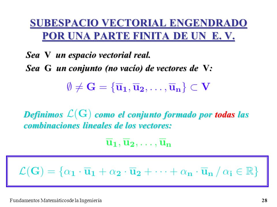 Fundamentos Matemáticosde la Ingeniería28 SUBESPACIO VECTORIAL ENGENDRADO POR UNA PARTE FINITA DE UN E.