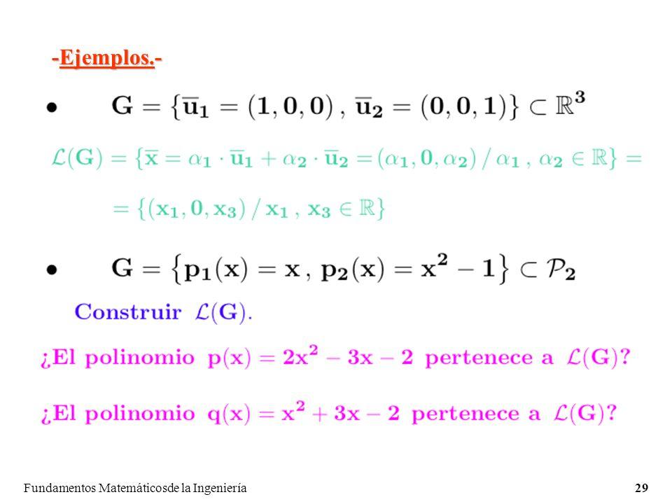 Fundamentos Matemáticosde la Ingeniería29 -Ejemplos.-