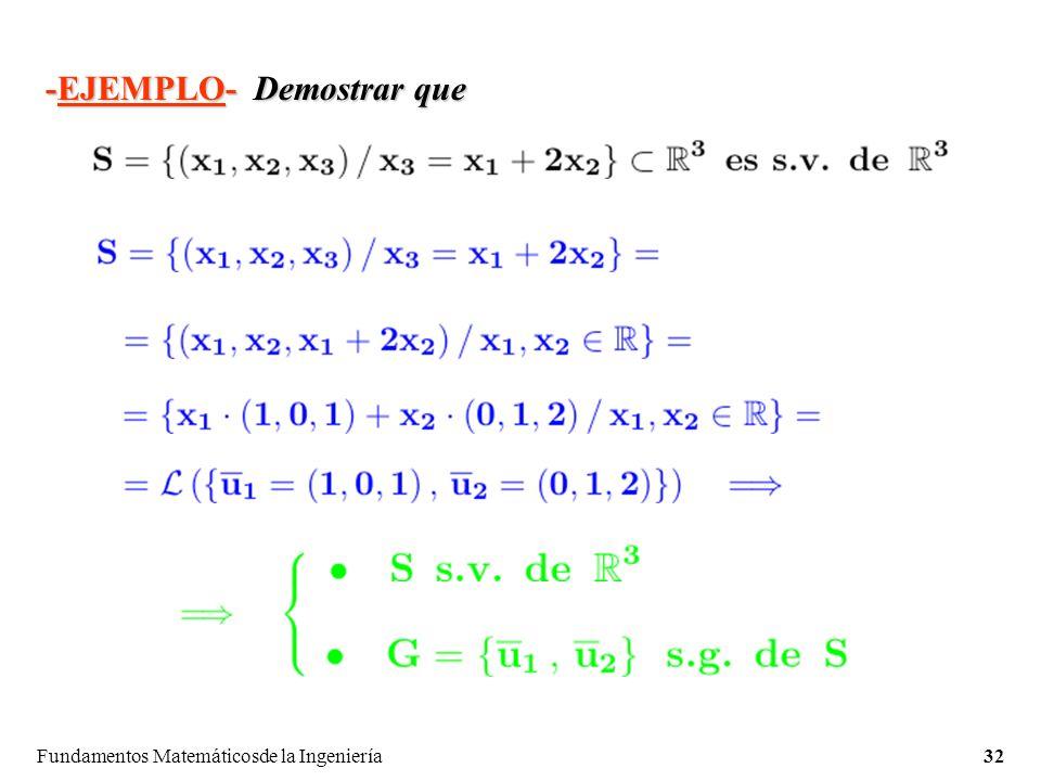 Fundamentos Matemáticosde la Ingeniería32 -EJEMPLO-Demostrar que -EJEMPLO- Demostrar que