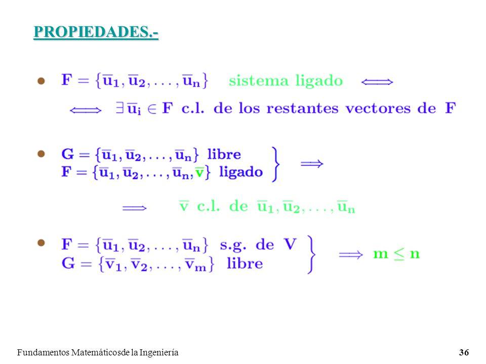 Fundamentos Matemáticosde la Ingeniería36 PROPIEDADES.-