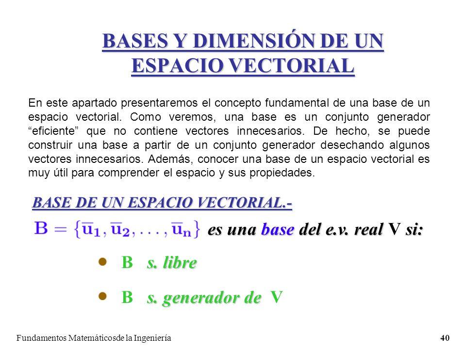 Fundamentos Matemáticosde la Ingeniería40 BASES Y DIMENSIÓN DE UN ESPACIO VECTORIAL BASE DE UN ESPACIO VECTORIAL.- En este apartado presentaremos el concepto fundamental de una base de un espacio vectorial.