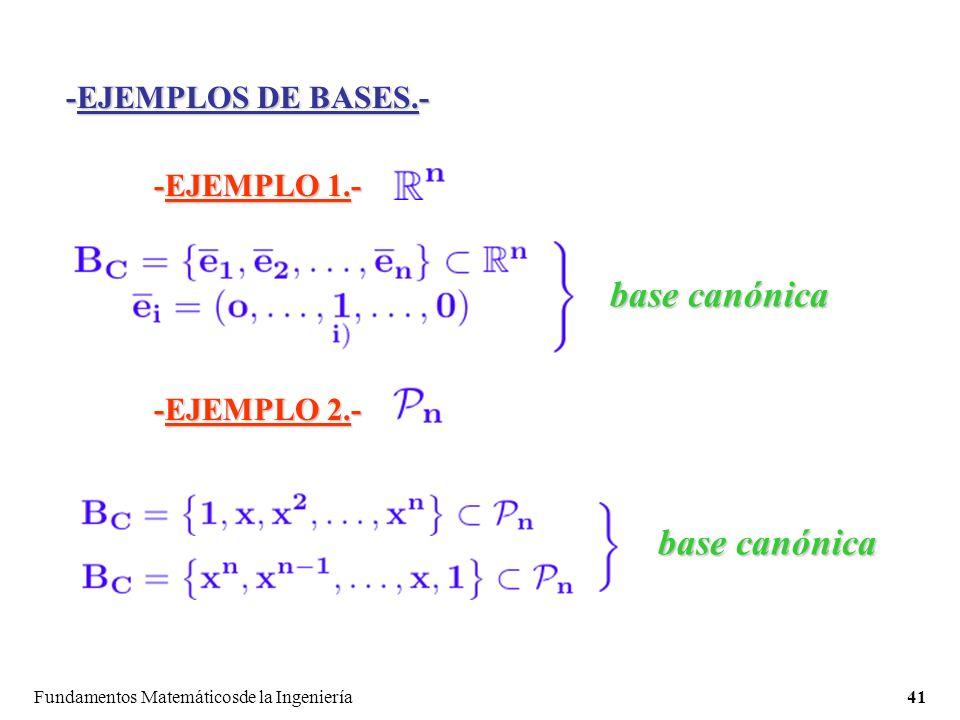 Fundamentos Matemáticosde la Ingeniería41 -EJEMPLOS DE BASES.- -EJEMPLO 1.- base canónica -EJEMPLO 2.- base canónica