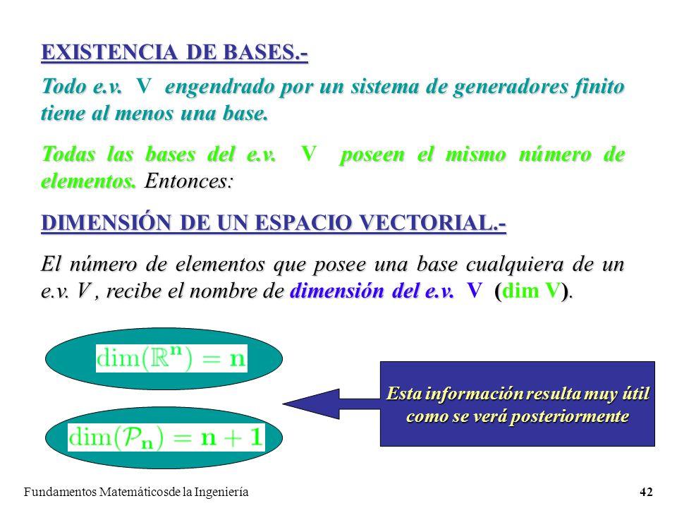 Fundamentos Matemáticosde la Ingeniería42 EXISTENCIA DE BASES.- Todo e.v.
