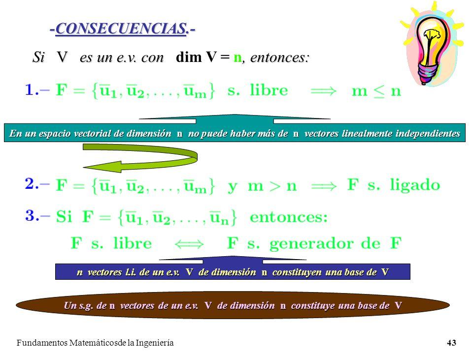 Fundamentos Matemáticosde la Ingeniería43 -CONSECUENCIAS.- Si V es un e.v.