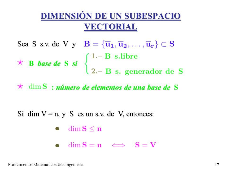 Fundamentos Matemáticosde la Ingeniería47 DIMENSIÓN DE UN SUBESPACIO VECTORIAL Sea S s.v.