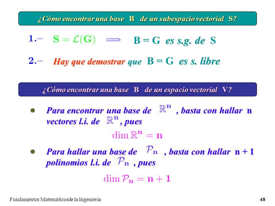 Fundamentos Matemáticosde la Ingeniería48 ¿Cómo encontrar una base B de un subespacio vectorial S.