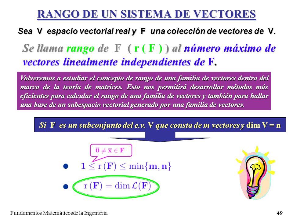 Fundamentos Matemáticosde la Ingeniería49 RANGO DE UN SISTEMA DE VECTORES Sea V espacio vectorial real y F una colección de vectores de V.
