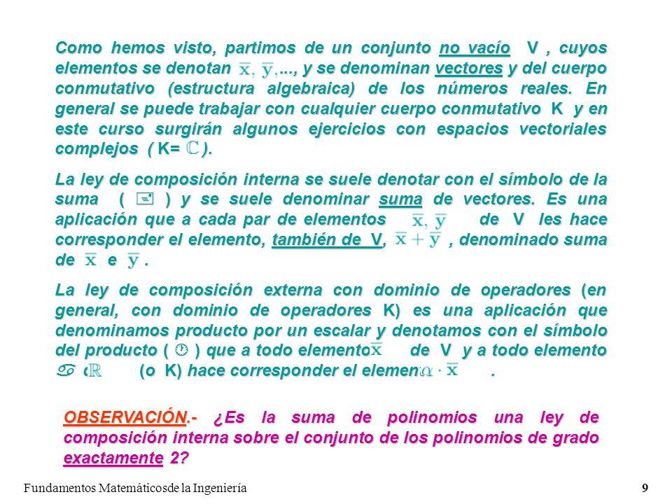 Fundamentos Matemáticosde la Ingeniería9 Como hemos visto, partimos de un conjunto no vacío V, cuyos elementos se denotan..., y se denominan vectores y del cuerpo conmutativo (estructura algebraica) de los números reales.