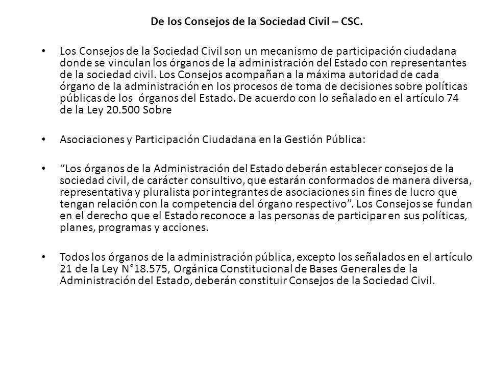 De los Consejos de la Sociedad Civil – CSC.