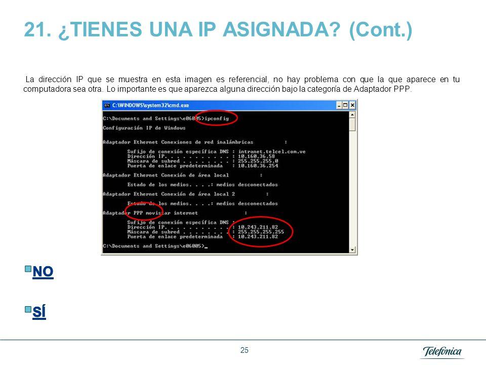 Área Razón Social 21. ¿TIENES UNA IP ASIGNADA? La dirección IP es el identificador de tu computadora en internet. Esta dirección se la asigna Movistar