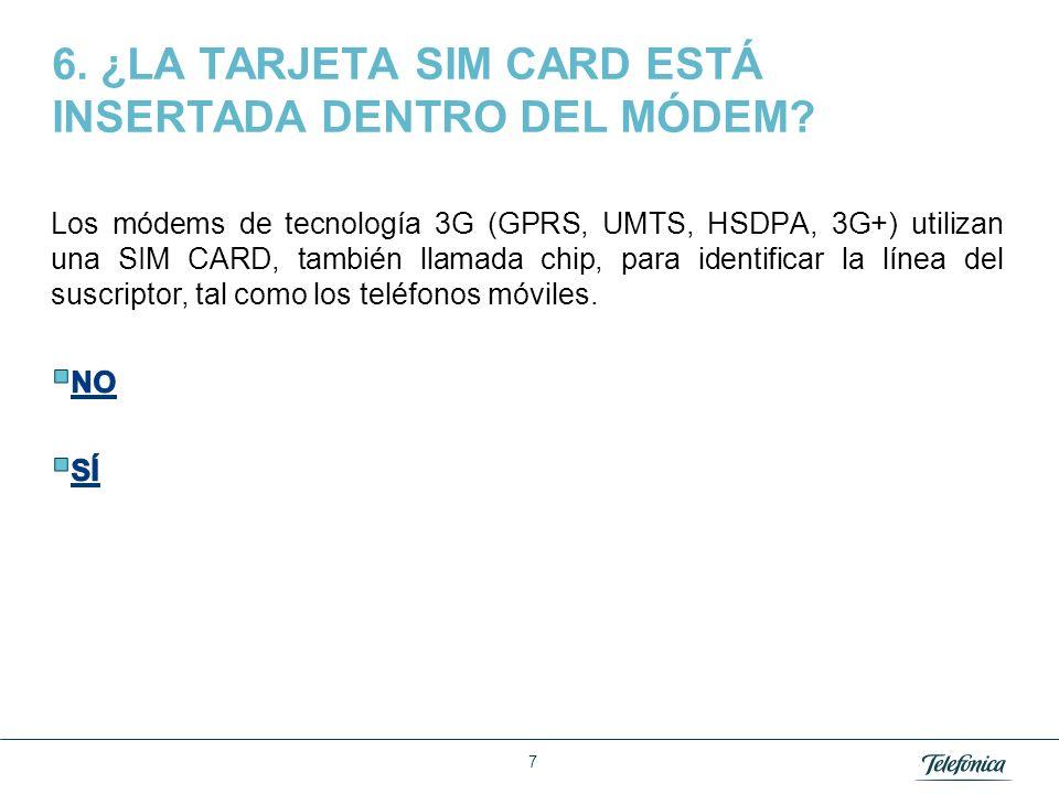 Área Razón Social 6. ¿LA TARJETA SIM CARD ESTÁ INSERTADA DENTRO DEL MÓDEM? 7