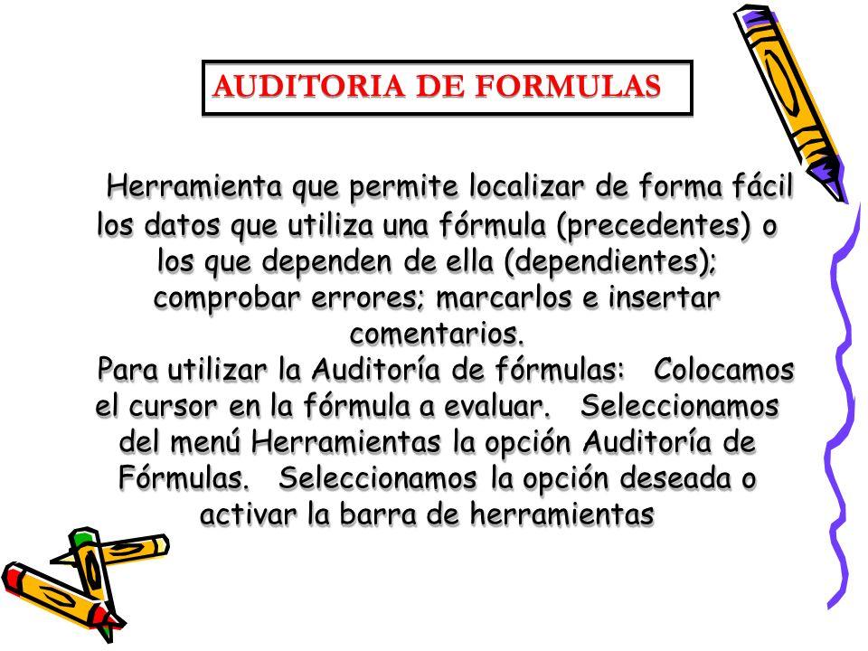Herramienta que permite localizar de forma fácil los datos que utiliza una fórmula (precedentes) o los que dependen de ella (dependientes); comprobar