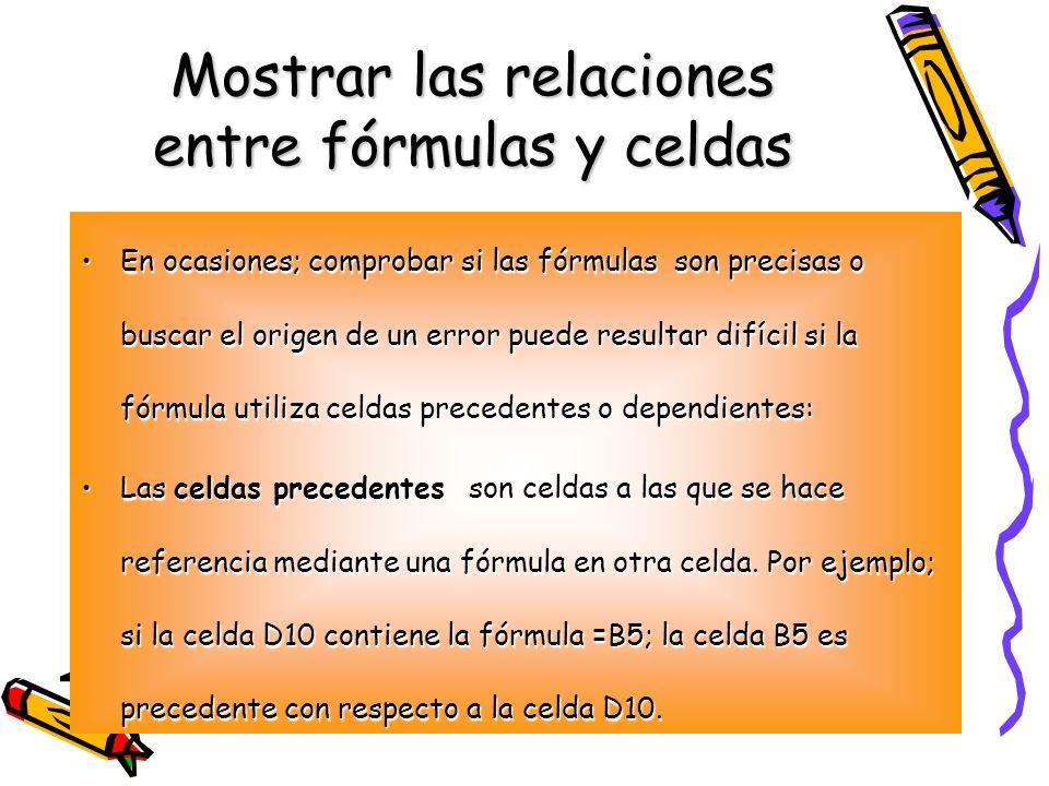 Mostrar las relaciones entre fórmulas y celdas En ocasiones; comprobar si las fórmulas son precisas o buscar el origen de un error puede resultar difí