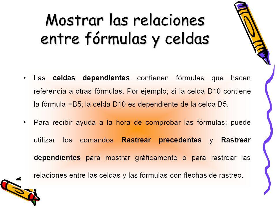 Mostrar las relaciones entre fórmulas y celdas Las celdas dependientes contienen fórmulas que hacen referencia a otras fórmulas. Por ejemplo; si la ce