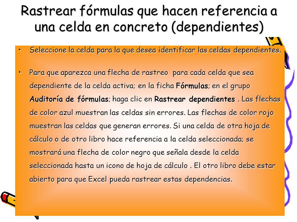 Rastrear fórmulas que hacen referencia a una celda en concreto (dependientes) Seleccione la celda para la que desea identificar las celdas dependiente