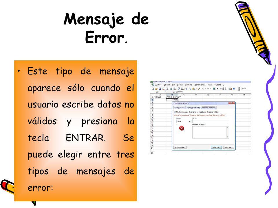 Mensaje de Error. Este tipo de mensaje aparece sólo cuando el usuario escribe datos no válidos y presiona la tecla ENTRAR. Se puede elegir entre tres