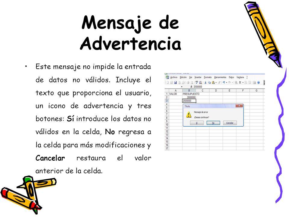 Mensaje de Advertencia Este mensaje no impide la entrada de datos no válidos. Incluye el texto que proporciona el usuario, un icono de advertencia y t
