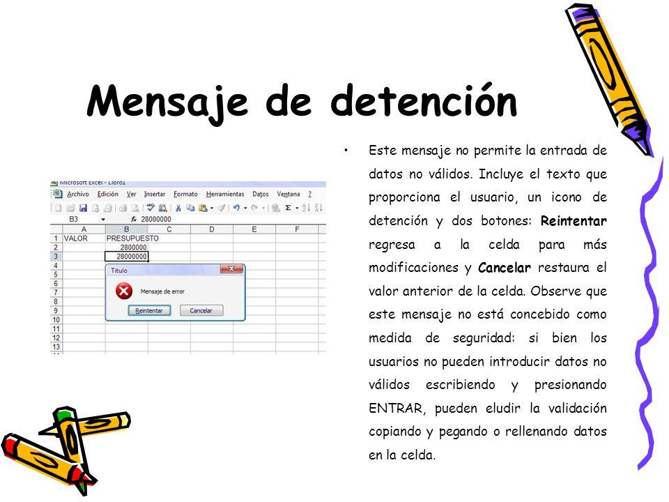 Mensaje de detención Este mensaje no permite la entrada de datos no válidos. Incluye el texto que proporciona el usuario, un icono de detención y dos