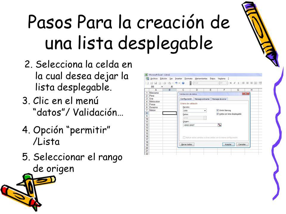 Pasos Para la creación de una lista desplegable 2. Selecciona la celda en la cual desea dejar la lista desplegable. 3. Clic en el menú datos/ Validaci
