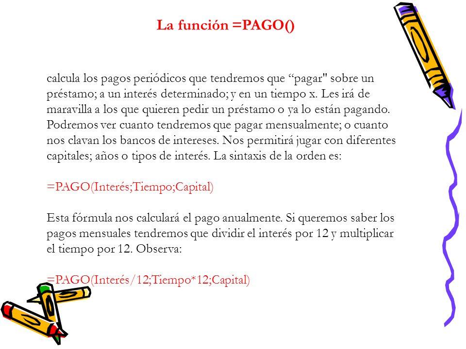 La función =PAGO() calcula los pagos periódicos que tendremos que pagar