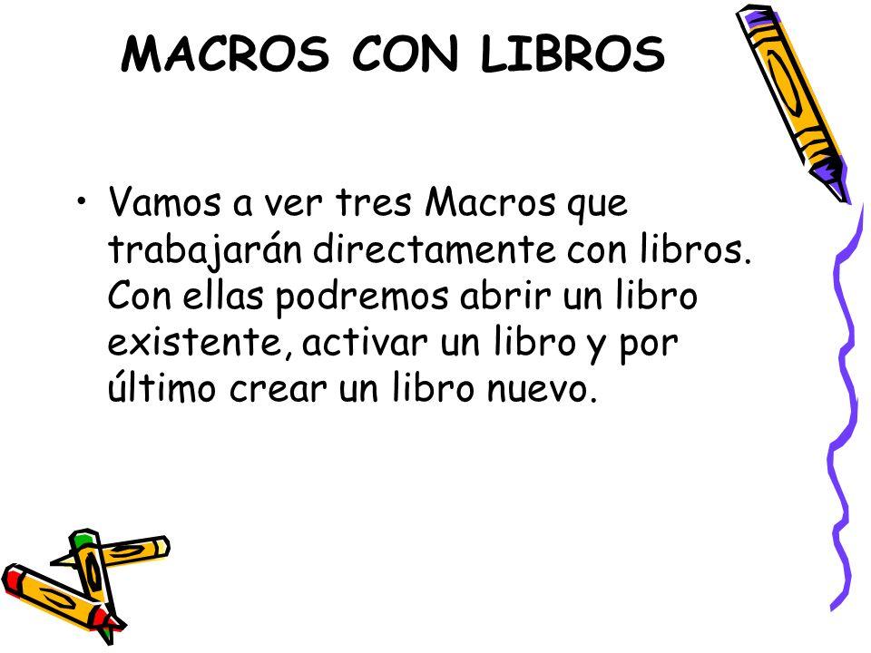 MACROS CON LIBROS Vamos a ver tres Macros que trabajarán directamente con libros. Con ellas podremos abrir un libro existente, activar un libro y por