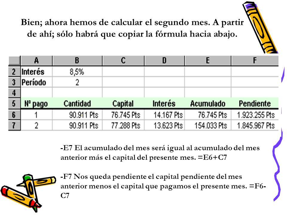 Bien; ahora hemos de calcular el segundo mes. A partir de ahí; sólo habrá que copiar la fórmula hacia abajo. -E7 El acumulado del mes será igual al ac