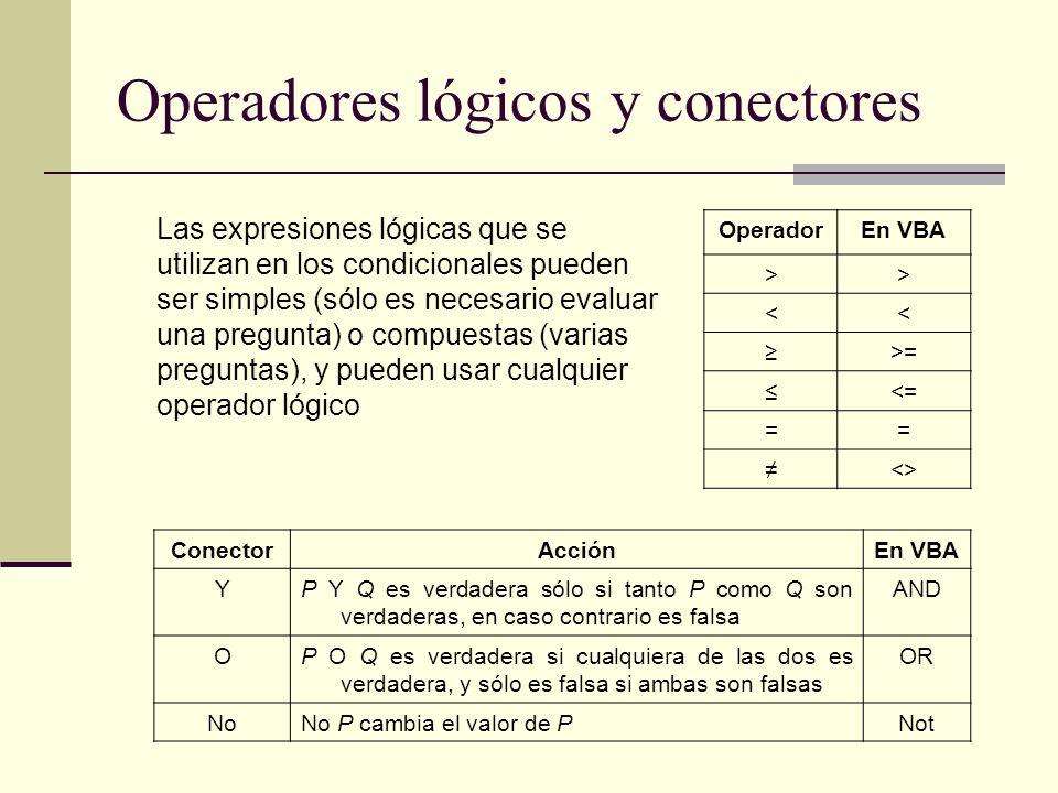 Operadores lógicos y conectores OperadorEn VBA >> << >= <= == <> ConectorAcciónEn VBA YP Y Q es verdadera sólo si tanto P como Q son verdaderas, en ca
