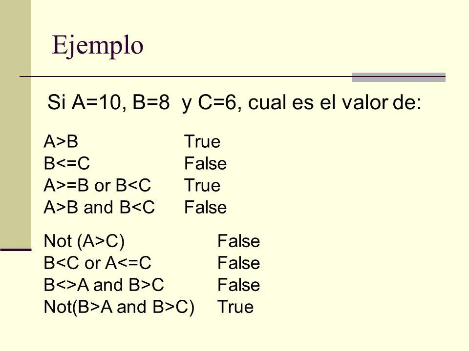 Si A=10, B=8 y C=6, cual es el valor de: A>B B<=C A>=B or B<C A>B and B<C True False True False Not (A>C) B<C or A<=C B<>A and B>C Not(B>A and B>C) Fa