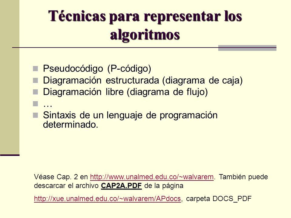 Técnicas para representar los algoritmos Pseudocódigo (P-código) Pseudocódigo (P-código) Diagramación estructurada (diagrama de caja) Diagramación est