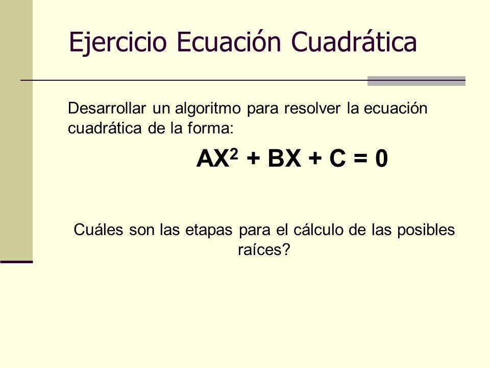 Desarrollar un algoritmo para resolver la ecuación cuadrática de la forma: AX 2 + BX + C = 0 Ejercicio Ecuación Cuadrática Cuáles son las etapas para