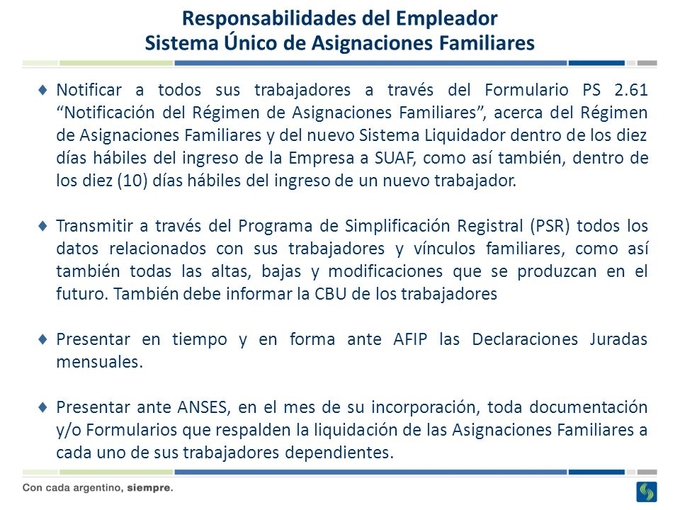 Régimen de Asignaciones Familiares Formulario PS 2.61 – Notificación Regimen AAFF