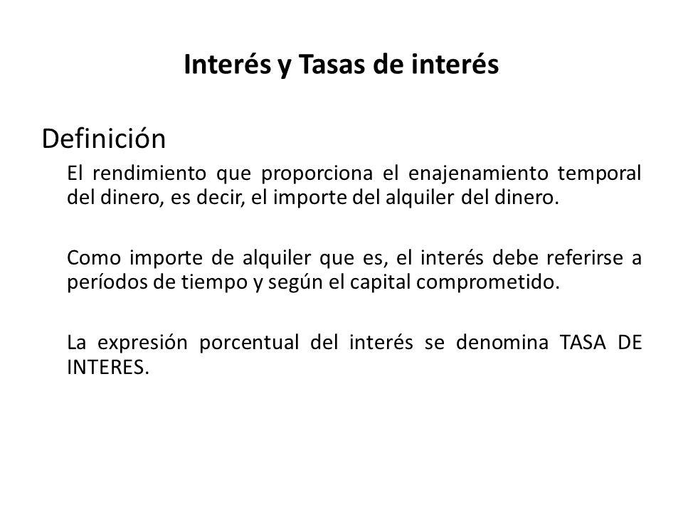 Denominaciones de la Tasa de Interés Según la causación: Anticipada – cuando el interés se causa en forma anticipada en el período.